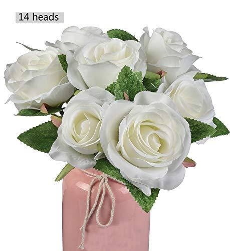 Famibay francia rose artificiali 14 teste seta fiori finti di rosa 2 mazzi per bomboniere decorazioni(bianca)