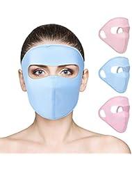 Qkurt 3pcs Actualizar Seda de Hielo Cara Completa Máscara de protección Solar, Mascarilla Transpirable de protección UV Sumer Facial para Ciclismo Actividades al Aire Libre