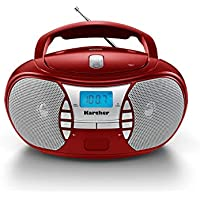 Karcher RR 5025-R tragbares CD Radio (CD-Player, UKW Radio, Batterie/Netzbetrieb, AUX-In) rot