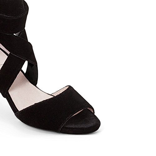 La Redoute Mademoiselle R Donna Sandali Effetto Vellutato Laccetto Alla Caviglia Nero