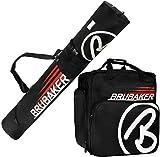 BRUBAKER Kombi Set CHAMPION Skisack und Skischuhtasche für 1 Paar Ski bis 170 cm + Stöcke + Schuhe + Helm Schwarz Rot