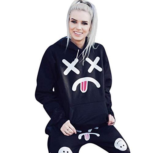 Felicove Damen Sweatshirts, Hoodie Sweatshirt mit Kapuze Pullover Tops Bluse Druck Tasche