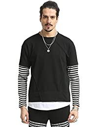 Pizoff Unisex Hipster Zipper Fake Two-Pieces Hoodie Shirt with Pocket