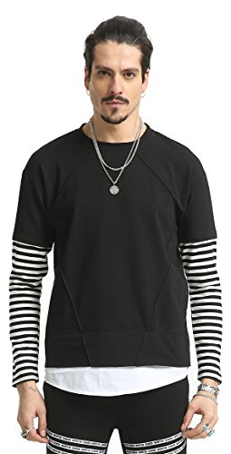Pizoff Unisex Hip Hop Fake Two-Pieces Design Sweatshirt mit streifen muster Arm AH027-Black-L (Muster Streifen T-shirts)