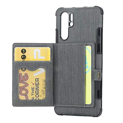 3C-LIFE Reinforced Frame and Corner Wallet Case Compatible with Huawei P20 Pro, Premium TPU + PU Leather Credit Card Holder Slot Handbag Professional Snap On Cover Bumper Case (Gray)