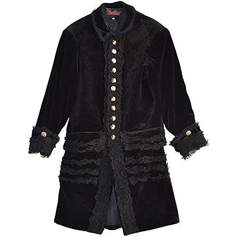El celibato 20099700.008S Mujeres gótica de Steampunk chaqueta de abrigo abrigo de terciopelo con tul - hasta la rodilla, S grande, negro