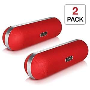 iQualTech Altoparlante Bluetooth - Forma Pillola con Microfono Vivavoce e Altoparlanti 2 x 5 watt (Rosso)