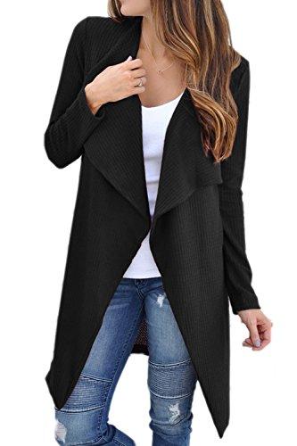 Les Femmes Décontracté Hiver L'automne Revers Avant Ouvert Cardigans Pull Vêtements Manteaux Black