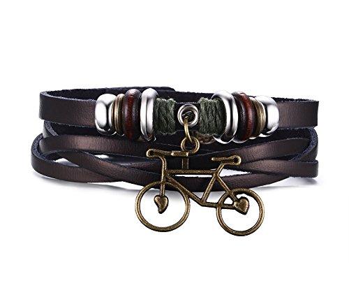joielavie joyas pulsera colgante bicicleta multicapa hebilla de aleación de piel Vintage Punk Biker Pulsera Mano cuerda regalo para hombre