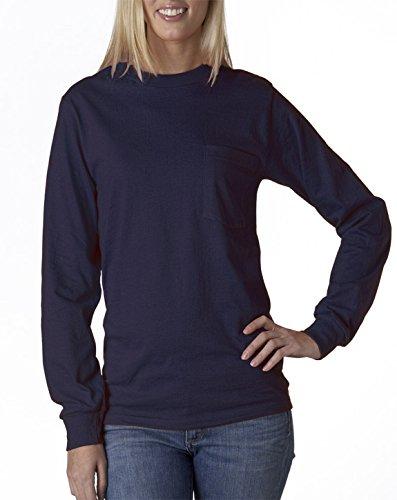 Gildan Erwachsene Ultra CottonTM Langarm T-Shirt mit Pocket 2410-navy - Blau - (Pocket T-shirts Gildan)