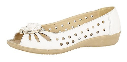 ladies-punched-open-toe-flower-trim-casual-pu-sole-white-size-6-uk