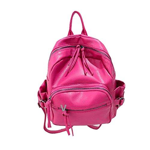 Gaorui 2015 Nuovo Donne Ragazze PU Zaino Scuola Borsa viaggio Zaino PACK SHOULDER BAG Rosso