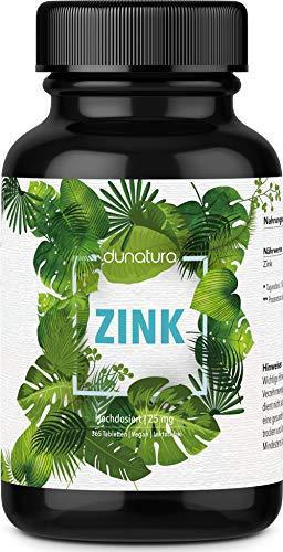 dunatura Zink 25mg hochdosiert - 365 Tabletten höchste Qualität Zink-Bisgylcinat laborgeprüft aus Deutschland