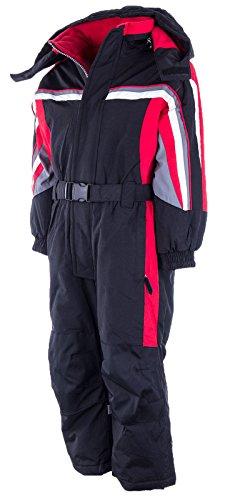 PEEM Schneeanzug Kinder Skianzug Jungen Mädchen Unisex Winteranzug Snowboard Winter | LB1316 Schwarz 128