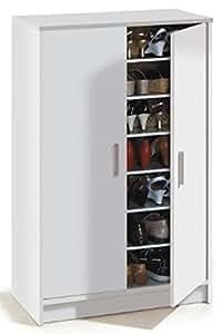 Armoire à chaussures avec 2 portes et 6 étagères (30 paires), coloris blanche, 101 x 75 x 36 cm -PEGANE-