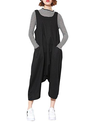 ELLAZHU Damen Schwarz Übergröße Locker Jumpsuit Overall Latzhosen GY1179