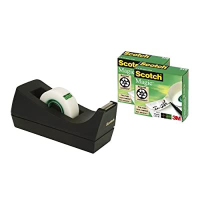 Scotch Desktop Tape Black Dispenser with Scotch Magic Tape, 19 mm x 33 m - 3 Rolls per Pack