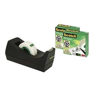 Scotch C38SM3S Tischabroller (3 Rollen Scotch MagicTape, 19mm x 33m) schwarz