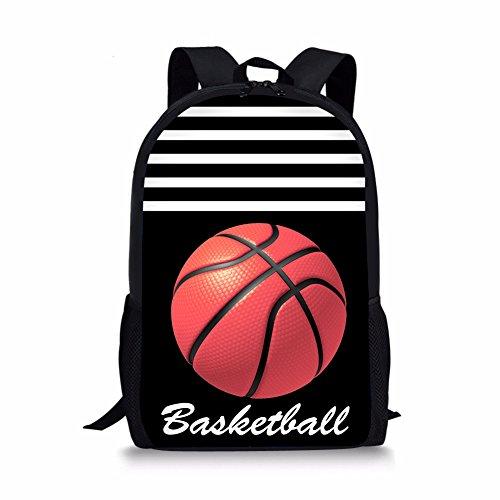 POLERO Basketball Printed Kinder-Rucksack Vintage-Campus Schoolbag Nette Kinder Schulter Bookbag 3D Printed Rucksack Outdoor-Reisetaschen für Mädchen und Jungen (Schwarz) -