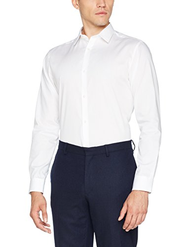 Jack & jones jprnon iron shirt l/s noos camicia formale, bianco (white fit:slim fit), medium uomo