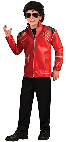 Rubies Kost-me 197221 Michael Jackson Deluxe Red Zipper Jacke Kind (Michael Jackson Beat It Jacke Kostüm)