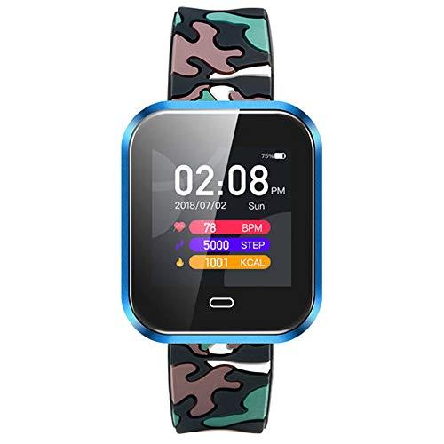 AIJIE Intelligente Bluetooth-Uhr, Farbbildschirm-Herzfrequenz-Blutdruck-Schlafüberwachungsinformationen Push-Fernsteuerungskamera-wasserdichte Uhr, passend für Ios Android,5 -
