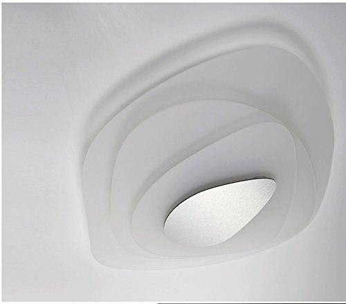 Shape - Lampadario Made in Italy Stile Moderno Mod. Aquos- Plafoniera in plexiglass satinato bianco Elegante 2 Luci - Soggiorno - Camera da letto - Ufficio - Salotto - Salone