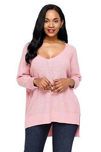 AN-LKYIQI Maglioncino da donna con felpa oversize a taglio alto e basso per autunno e inverno Pink