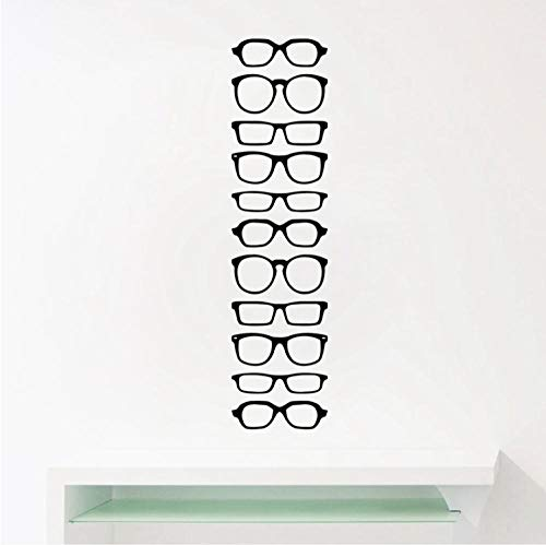Brille Hipster Streifen Vinyl Wandaufkleber Optische Ladentür Fenster Glas Kunst Dekor Aufkleber, Brillenfassungen Abnehmbare Vinyl Aufkleber 56 * 14 cm