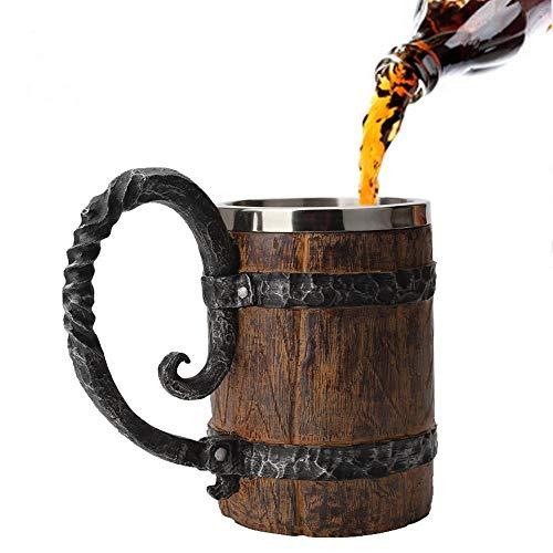 Umiwe Bierkrug Holz mit Griffen & Edelstahl Liner, Simulation Holzfass Personalisierte Whisky Wein Tasse für Männer/Frauen/Party/Home/Bar