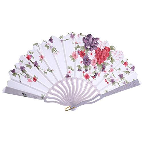 Kviklo Handfächer Folding Fächer Vintage Flower Geblümt Kunststoff Kostüm Party Hochzeit Chinesisch/Japanisch Fan Home Dekorationen(Weiß,24cm) (Brot Katze Kostüm)
