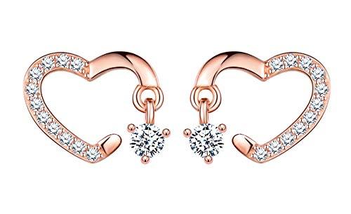 Inifinite U orecchini da donna, in argento Sterling 925, con orecchini a forma di cuore, oro rosa, intarsiato con pietre brillanti, regalo perfetto per Natale compleanno