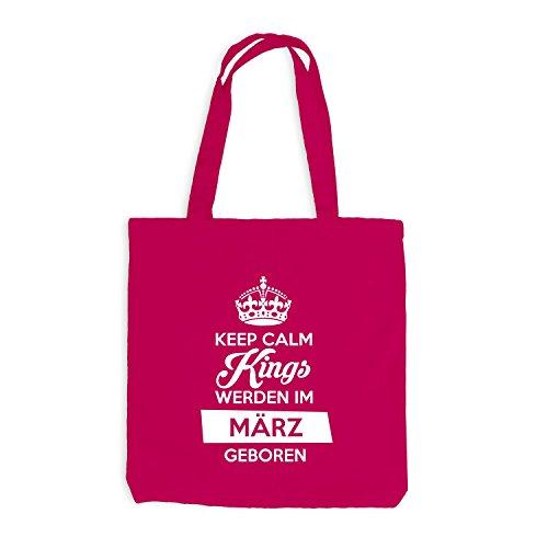 Jutebeutel - Keep Calm Kings werden im März geboren - Birthday Geburtstag Pink