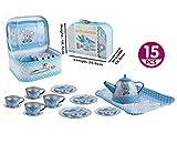 GetBest 15 Pcs Tin Tea Plate Set Pretend Play Toys for Kids, Blue