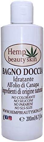 Bagnoschiuma canapa - Bagnoschiuma con olio di canapa - 200 ml - idratante - per pelli delicate, sensibili e s