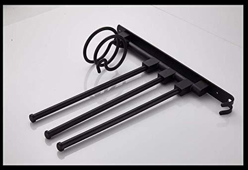 WSHZ Haartrockner Rack Wandbehang Space Aluminium, Badezimmer Rack Organizer 3 Handtuchhalter Zwei Haken 32,5 * 37,5 cm