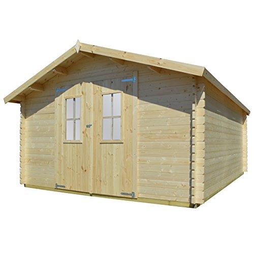 vidaXL Massivholz Gartenhaus 34mm 4x4m Blockhaus Gerätehaus Schuppen Holzhaus