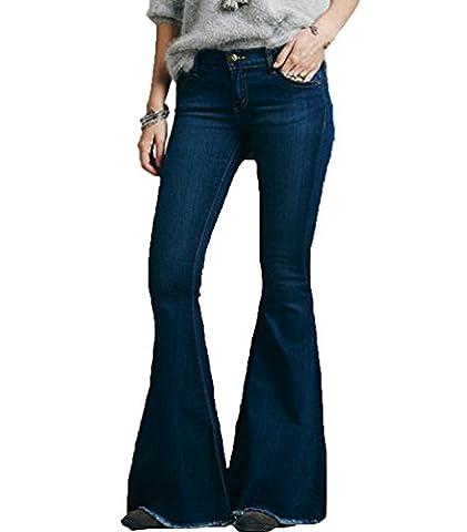 ZhiYuanAN Femme Ample Jeans Large Ou Jean Flare Élastique Denim