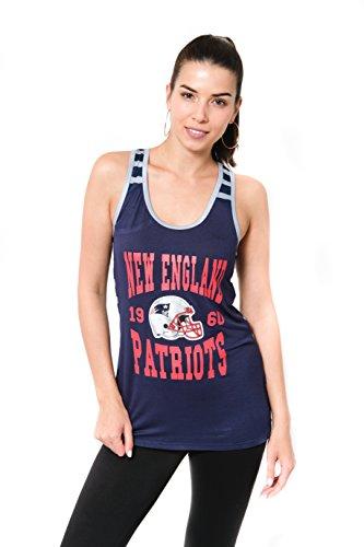 Icer Brands NFL Damen Jersey Ärmelloses Mesh Weiches Tank Top T-Shirt, Team Logo Farbe, Damen, JTL2186A-NE-Large, NVY, Large (Nfl Patriots Frauen Jersey)