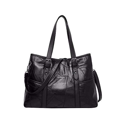 VADFLOD Large Work Tote Bag Elegante Schwarze Reisetasche Aktentasche passt zum Laptop für Damen - Gefüttert Stroh Tote