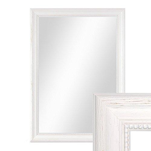 PHOTOLINI Wand-Spiegel 36x46 cm im Holzrahmen Landhaus-Stil Weiss/Spiegelfläche 30x40 cm (Spiegel X 36 36)