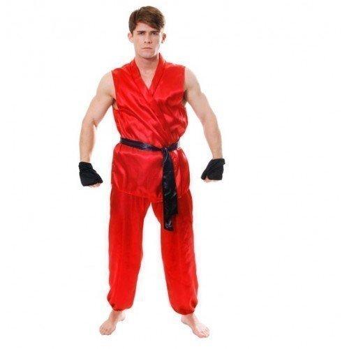 Herren Erwachsene 4Pc rot Kampfsport Karate Kämpfer Sport Kostüm Kleid Outfit
