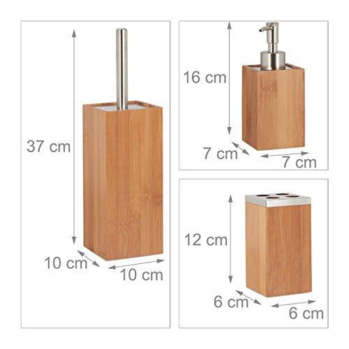 Relaxdays 6-teiliges Bad Set aus Bambus mit Seifenspender, Seifenhalter,  Bürstenhalter, Zahnputzbecher, Ablage, Badeimer