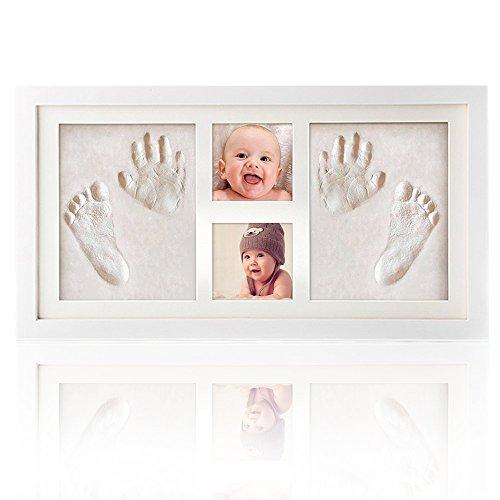 Kit portafoto e impronte di mani e piedi, cooljoy cornice impronta neonato in legno - due impronte e due cornice foto - una battesimo regalo per bambini e bambine (grande)