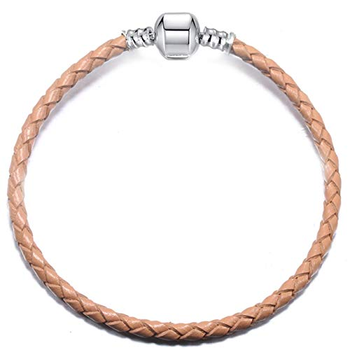 Baostic Armschmuck 9 Colors Leather Chain Charm Bracelets with DIY Fine Bracelet for Women Girls Jewelry Gift Gray-1 18cm