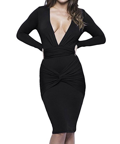 Dissa S1161262 femme Sexy Robe moulante Noir