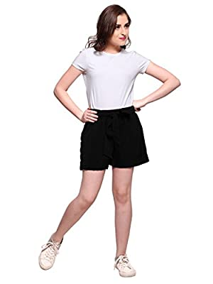 Smarty Pants Women Black Solid Shorts with Waist Belt (SMSO-30A)