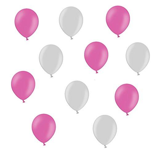 lons je 25 Pink Silber Metallic - ca. Ø 28cm - 50 Stück - Ballons als Deko, Party, Fest - Farbe Silber Metallic & Pink - Helium geeignet - twist4® (Rosa Und Schwarze Ballons)