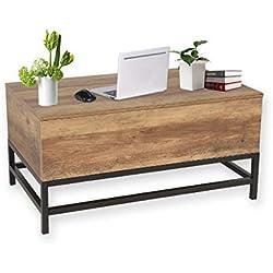 MAIMAITI Table Basse relevable Lara,Support à Ressort en métal,Matériel:Panneau de Particules B48 * T80 * H40-54CM (Bois)