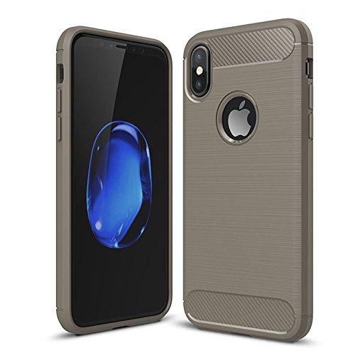 UKDANDANWEI Apple iPhone X Etui - Souple TPU Protection Bumper Housse Silicone Gel Résistant Case pour Apple iPhone X - Rouge Gris